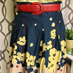Navy Skirt w/ yellow and red flowers